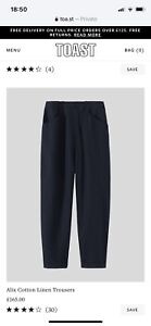 Toast Black Alix linen Trousers (Size 6) Fits Size 8 £165 New