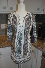 NWT Hale Bob 3/4 sleeves paisley beaded beige multi abstract dress size S