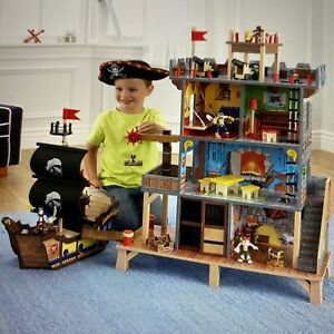 KIDKRAFT 4-LEVEL PIRATE'S  COVE HIDE-OUT HOUSE PLAY SET & PIRATE SHIP & EXTRAS