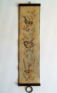 """VINTAGE 22"""" BELL PULL NEEDLEPOINT TAPESTRY WITH BIRDS"""