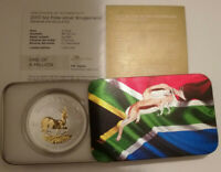 2017 24K GILDED SILVER KRUGERRAND 50th ANNIVERSARY EDITION 1Oz PACKAGED & COA