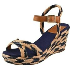 TORY BURCH CAMELIA NAVY TAN MID WEDGE ESPADRILLES SANDALS US 9 I LOVE SHOES