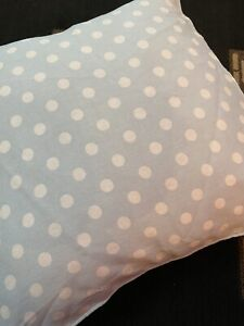 Pair Of Baby Blue Polka Dot cushion covers 100% cotton Zip fastening