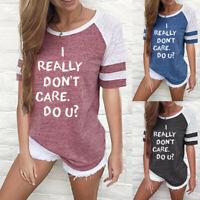 Fashion Women Letter Print Short Sleeve Splice Blouse Tops Clothes T Shirt