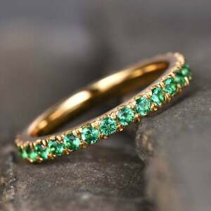 Natural Emerald Wedding Band Sterling Silver Emerald Ring Full Eternity Ring