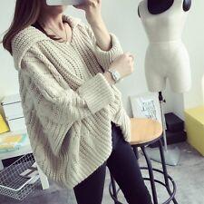 Women Lapel Knitted Pullover Batwing Sleeve Loose Jumper Sweater Tops Knitwear