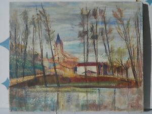 AUVERGNE César BOLLETTI 1915-1995 PAYSAGE Tableau Peinture Huile EXPRESSIONNISTE