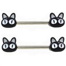 "BLACK ALLEY CAT STEEL NIPPLE PIERCING BARBELLS RINGS 14g 9/16"" (Sold in Pairs)"