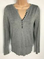WOMENS M&S MARKS & SPENCER GREY KNITTED JUMPER SWEATER PULL OVER SIZE UK 8