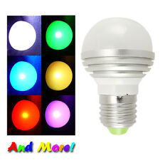 LED Color changing Light Bulb Wireless Remote control E27 3 watts GRB USA ship