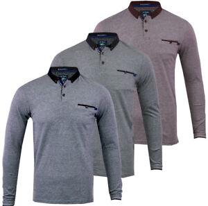 Mens Le Shark Long Sleeve Plain Polo Shirt Top Cotton Smart S-XXL