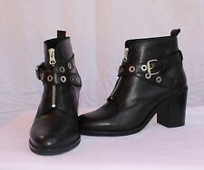 OFFICE London Black Leather Ankle Boots Grommets Zip Front Rock N Roll 8 $130