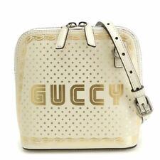 GUCCI GUCCY Mini Shoulder Bag Leather White Gold 511189 Purse 90093551