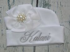 Personalized Baby Girl Hat with White Bow Rhinestone Center, Monogrammed Beanie
