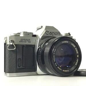 Canon AV-1 Silver SLR 35mm Film Camera / NFD New FD 50mm f/1.4 Lens GOOD TK03S