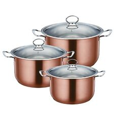 Stylish 3pc Stainless Steel Casserole Stock pot Set INDUCTION Cookware Copper