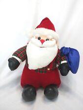 "Red Nose Velvet Plaid Satin Fur Faux Leather Santa 13"" Sitting Down 16"" Long EUC"