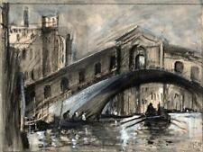 IN THE STYLE OF BRABAZON Watercolour Painting RIALTO BRIDGE VENICE ITALY