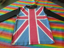 VINTAGE 80S UNION JACK LONG SLEEVE ROCK AND ROLL TEE SHIRT SMALL