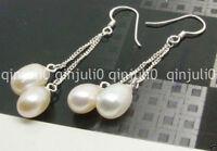 Pretty! 6-7mm white Akoya Freshwater Pearl Silver Hook Drop Dangle Earring JE101