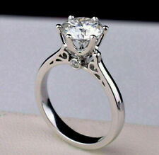 & Wedding Ring 925 Sterling Silver 2.50Ct Round Cut Diamond Solitaire Engagement