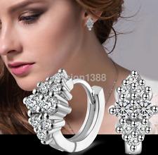 Women's Crystal 925 Sterling Silver Plated Ear Stud Hoop Earrings Jewelry Gift