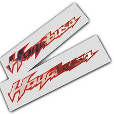 Hayabusa motorcycle decals custom graphics silver chrome on red stickers x 2
