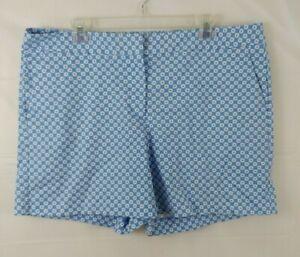 Talbots Womens Printed Shorts Sz 16 Blue White Cotton Pockets XL Stretch Flat