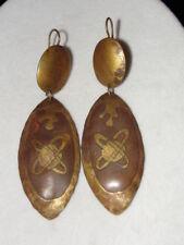 Vintage Antique Brass World Orbit Dangle Earrings Beautiful!