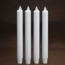 "Luminara Flameless Moving Flame Taper Candle Set For Home Decor White 8"" 4 Pcs"