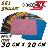 Feuille Vinyle Brillant  Vinyl Sheet Film ORACAL 651 30x20 cm plotter de decoupe