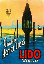 Grand Hotel Lido ~VENEZIA - VENICE / ITALY~ Gorgeous Old Luggage Label, c. 1945
