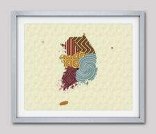 Art South Korea Map Print SeoulTravel Poster Painting Abstract Home Wall Decor
