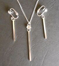 SIMPLY ELEGANT BAR & CRYSTAL NECKLACE & CLIP ON EARRING SET (hook options)