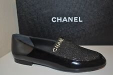 NIB CHANEL 17B Socky CC Loafer Flat Shoe Black Patent & Gold Fabric 38 - 8