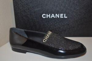 NIB CHANEL 17B Socky CC Loafer Flat Shoe Black Patent & Gold Fabric EU 38 7.5 US