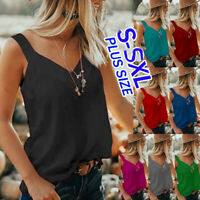 Women Ladies V-Neck Sleeveless Camis Blouse Summer Casual Loose Shirt Tops Vest