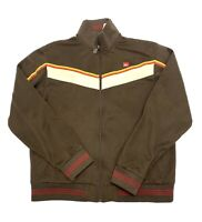 Quicksilver Track Jacket Mens Size S Brown Full Zip Classic Vintage Retro Style
