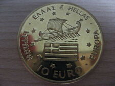 GREECE 1996 HELLAS 10 euro UNC gilded gold plated #16.836