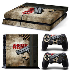 PlayStation 4 PS4 Console Skin Decal Sticker Army Gun + 2 Controller Skins Set