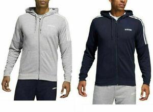 Adidas Men French Terry Full Zip Hoodie Jacket 3 Stripe