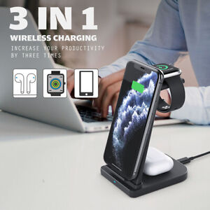 Qi 15W Fast Charge  3 In 1 Wireless Fast Charger Pad Charging Station Stand New