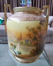 """8.5"""" X 8"""" X 7"""" Nippon Porcelain Vase Yellow Green Trees Water Gold Beading"""