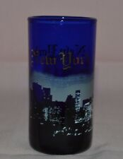 """VINTAGE COBALT BLUE SHOT GLASS MARKED """"NEW YORK"""" HAS PICTURE OF """"TWIN TOWERS"""""""