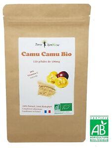Vitamine C Naturelle 20%  Extrait de Camu Camu Biologique  120 gélules de 500mg