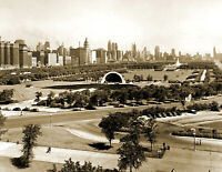 "1930's Grant Park and Skyline, Chicago, Illinois Old Photo 8.5"" x 11"" Reprint"