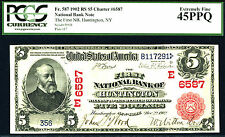1902, $5 FR 587 N-RED SEAL-RARE-RS-3rd charter # 6587,just 11 known LGS, 0 FINER