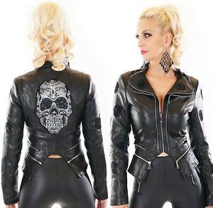 Damen Biker Jacke Glitzer Totenkopf Kunstleder Leder Wet Look Skull S M L XL