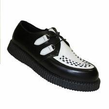 Boots & Braces Creeper schwarz/weiss mit Flechtmuster