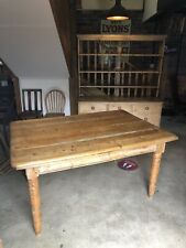 Four plank pitch pine country farmhouse scrub-top table